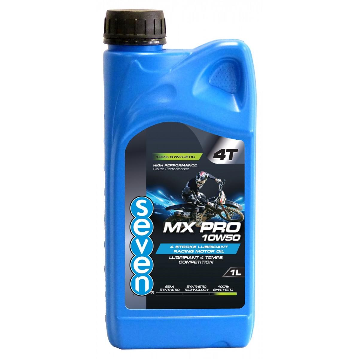 Huile moteur 4 temps compétition SEVEN MX PRO 10W50 - 1L